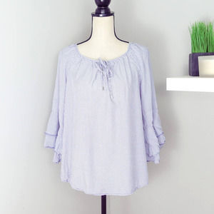 Christopher & Banks Stiped Ruffle Sleeve Top